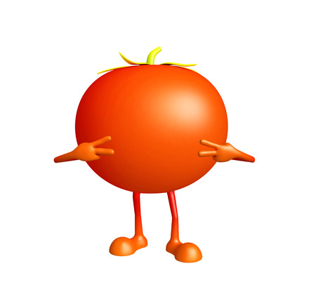 3D Illustration of Tomato character with win pose