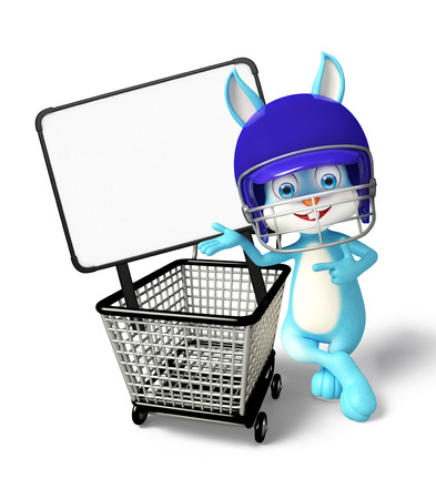 3d Illustration of Easter Bunny character trolley and signboard illustration