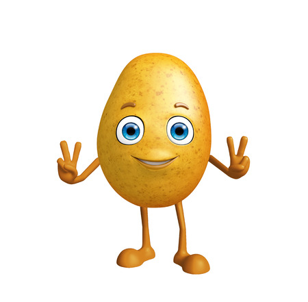 3d Illustration of Potato character with win pose Stock Photo