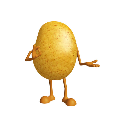spud: 3d Illustration of Potato character with best sign pose