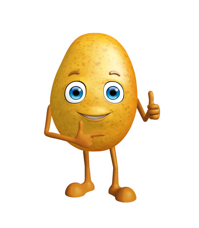 good bye: 3d Illustration of Potato character with thumbs up pose Stock Photo