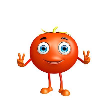 conquer: 3d illustration of tomato character with win pose