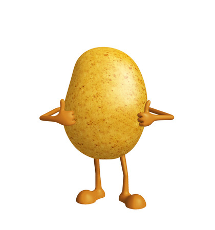 spud: 3d Illustration of Potato character with thumbs up pose Stock Photo