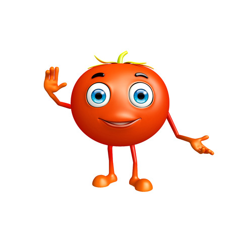 come: 3d illustration of tomato character with saying hi pose