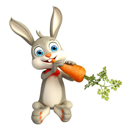 jack rabbit: 3d Illustration of Easter Bunny character with carrot
