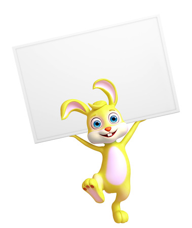 trolly: 3d Illustration of Easter Bunny character with sign board