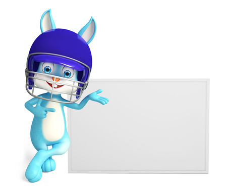 3d Illustration of Easter Bunny character with sign board illustration