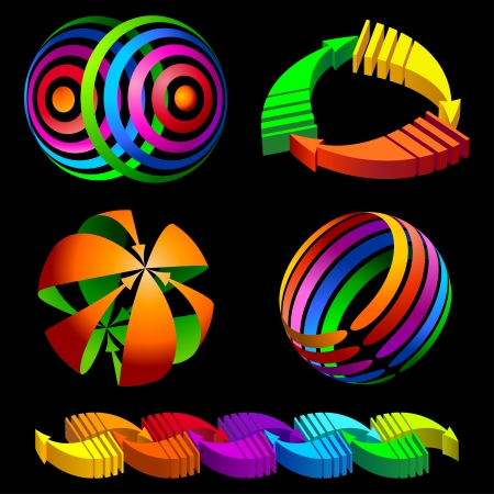 image size: Volumetric vector colorful rotating arrows    This image is a scalable vector illustration of arrows and can be scaled to any size without loss of quality  Illustration