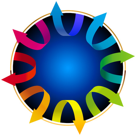 Volumetric vector colorful rotating arrows    This image is a scalable vector illustration of arrows and can be scaled to any size without loss of quality  Stock Vector - 24542255
