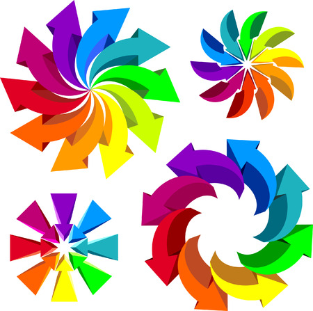 Volumetric vector colorful rotating arrows    This image is a scalable vector illustration of arrows and can be scaled to any size without loss of quality Stock Vector - 24542273