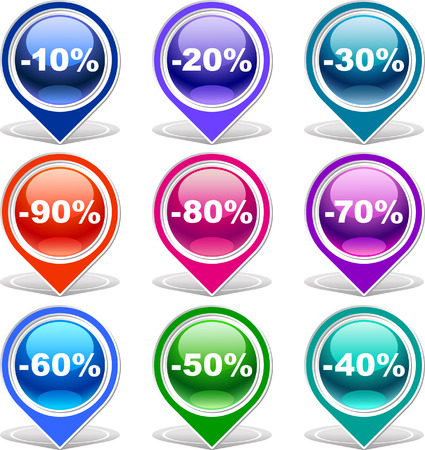 Colorful discount labels    This image is a scalable vector illustration of elements and can be scaled to any size without loss of quality  Stock Vector - 24542308