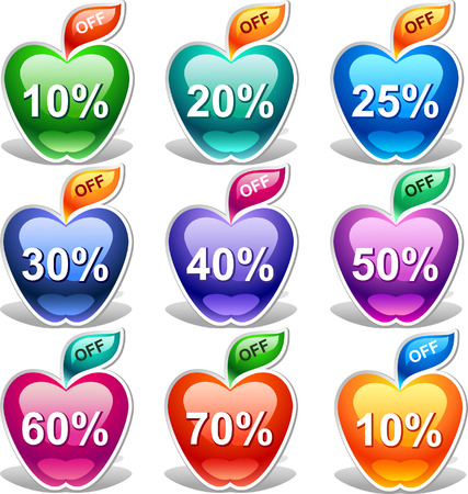 Colorful discount labels    This image is a scalable vector illustration of elements and can be scaled to any size without loss of quality Stock Vector - 24542309