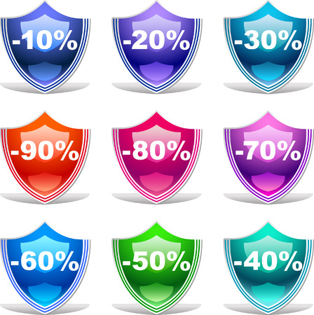 Colorful discount labels    This image is a scalable vector illustration of elements and can be scaled to any size without loss of quality  Stock Vector - 24542310
