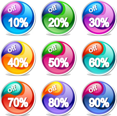 Colorful discount labels    This image is a scalable vector illustration of elements and can be scaled to any size without loss of quality Stock Vector - 24542322