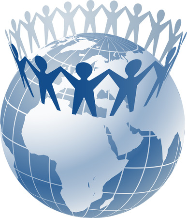 Community of people joined around the globe    This image is a scalable vector illustration  of peoples and can be scaled to any size without loss of quality Stock Vector - 24542340