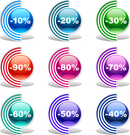 Colorful discount labels    This image is a scalable vector illustration of elements and can be scaled to any size without loss of quality  Stock Vector - 24542341