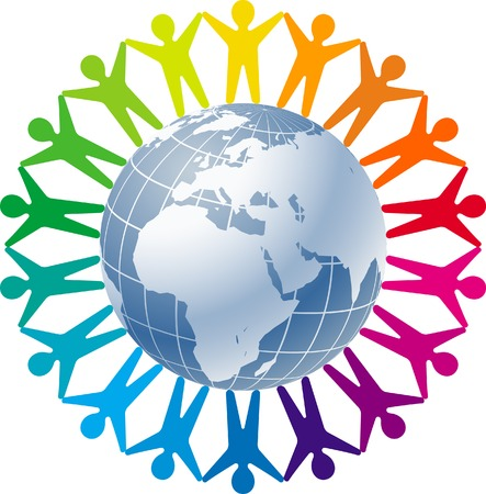 People joined around the globe    This image is a scalable vector illustration  of peoples and can bpeople joined around the globe    This image is a scalable vector illustration  of peoples and can be scaled to any size without loss of quality  Stock Vector - 24542393