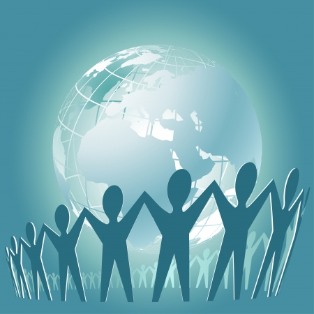 image size: Community of people joined around the globe    This image is a scalable vector illustration  of peoples and can be scaled to any size without loss of quality