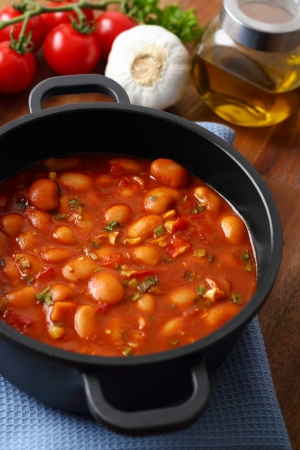 Hot turkish bean stew with a tasty tomato sauce