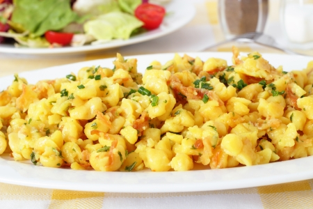 Spaetzle, a noodle speciality with grated cheese