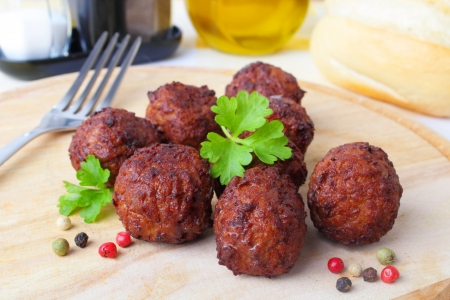 meatballs with pepper and parsley  photo