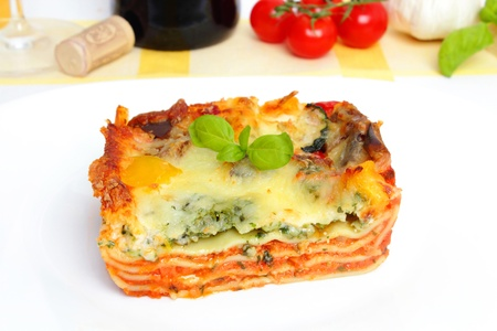 fresh vegetarian lasagna with vegetables  Stock Photo