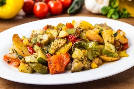 mixed grilled vegetables served on a plate Stock Photo