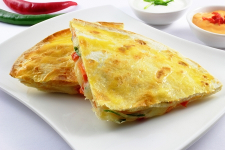 tex: vegetarian quesadillas filled with cheese and veggies