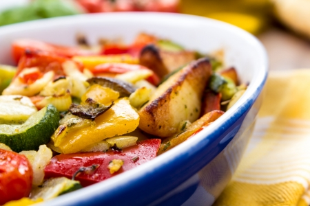 mixed grilled vegetables served in a bowl bowl  photo