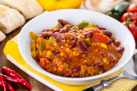 chili sauce: Chili con carne - stew with beans, beef, corn and peppers Stock Photo