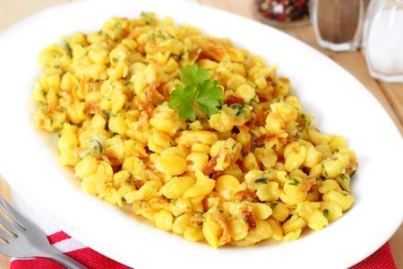 Spaetzle - noodles with grated cheese  photo