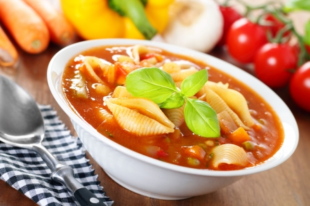 minestrone: Italian soup with veggies and pasta