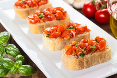 fresh bruschetta served on a plate  photo