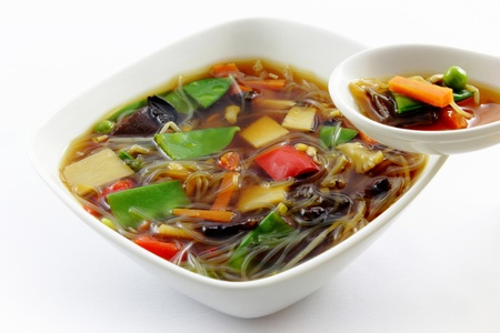 cloud ear fungus: homemade fresh chinese peking soup with rice noodles
