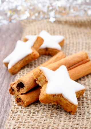 fresh cinnamon star shaped cookies with frosting Stock Photo