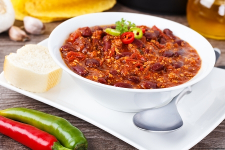 Chili con carne - stew with beans, minced meat and chili peppers