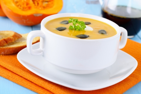 potage: fresh homemade pumpkin soup with bread