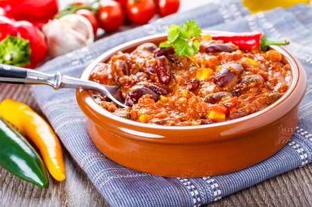 tex mex: Chili con carne - stew with beans, bee and chili peppers