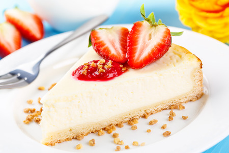 brittle: fresh homemade cheese shortcake with strawberry topping and brittle