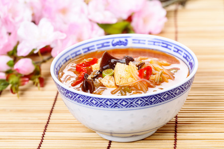 noodles soup: Chinese hot and sour soup served in a bowl