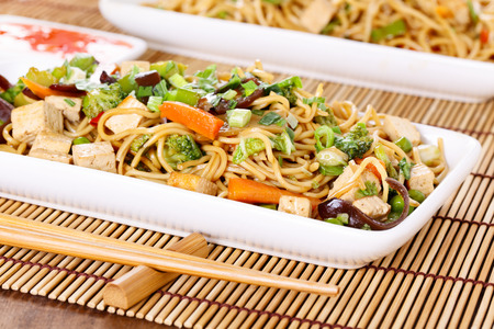 chinese food: Chow mein - stir-fried noodles with vegetables