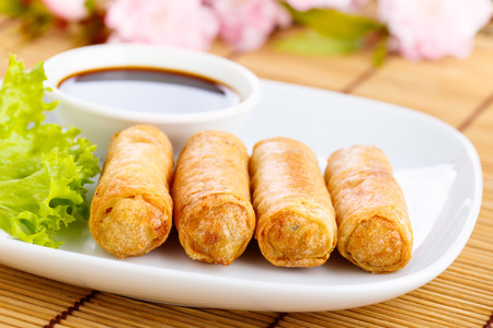 fresh spring rolls with vegetables on chinese dishware. Stock Photo