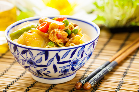 chinese noodle: Chow mein - stir-fried noodles with vegetables and tofu Stock Photo
