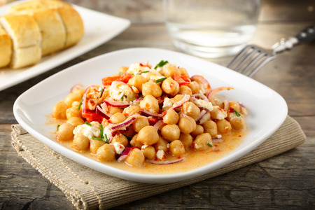 chick pea: tasty chick pea salad with feta cheese, red onions and herbs