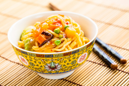 mie noodles: fried noodles with vegetables and a sweet and sour sauce.