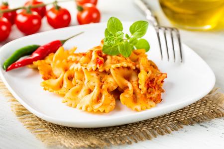 meatless: Farfalle arrabiata - bow-tie pasta with hot tomato sauce