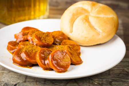 german currywurst - pieces of curried sausage