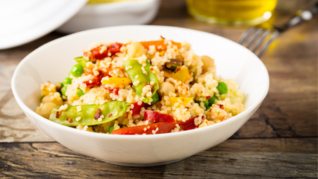 fresh cous cous with mixed grilled vegetables.