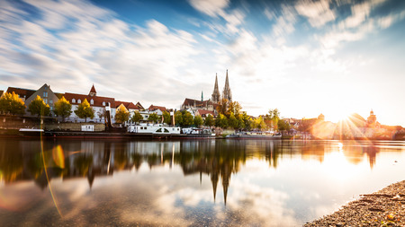 outdoor scenery: Skyline of the city Regensburg at sunset. Stock Photo