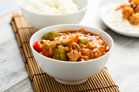 chunks: sweet and sour vegetables and soy chunks Stock Photo